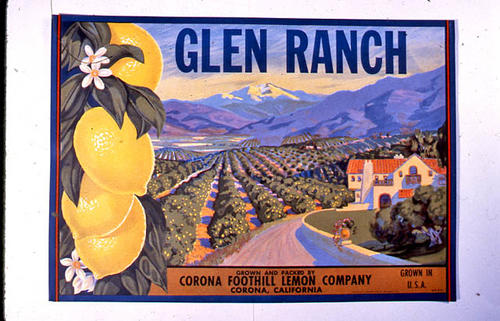 "This slide is of the ""Glen Ranch"" brand.  This product was grown and packed by the Corona Foothill Lemon Company. - Corona, California. - SLIDE CONDITION:  Good."