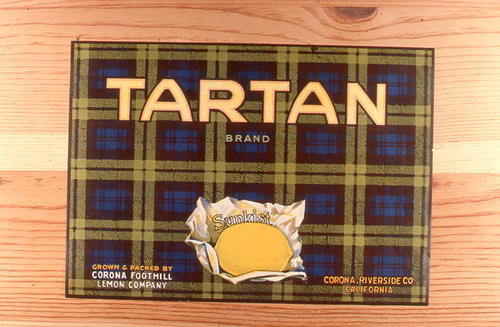 "This slide is of the ""Tartan"" brand citrus label. Grown, Packed by the Corona Foothill Lemon Company - Corona, Riverside County, California - Sunkist.   SLIDE CONDITION:  Good."