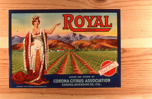 "This slide is of the ""Royal"" brand citrus label.  Part of the Corona Citrus Association.  SLIDE CONDITION:  Good."