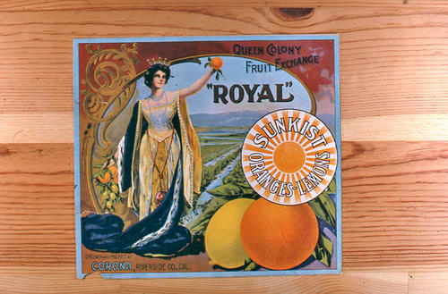 "This slide is of the ""Royal"" brand citrus label.  This Sunkist product is grown and packed by the Queen Colony Fruit Exchange - Corona, Riverside County, California. - SLIDE CONDITION:  Good."