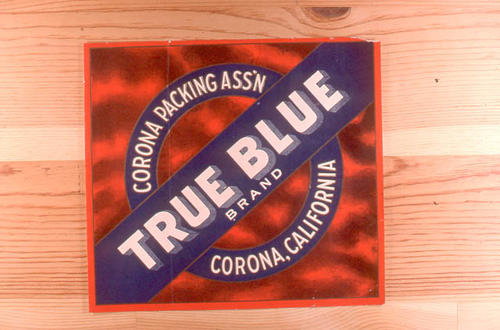 "This slide is of the ""True Blue"" brand citrus label.  This product is from  the Corona Packing Association. - Corona California. - SLIDE CONDITION:  Good."