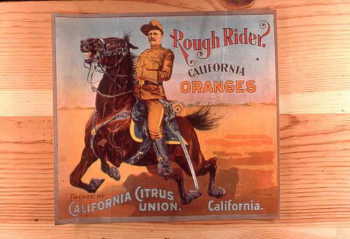 "This slide is of the ""Rough Rider"" brand citrus label. Packed by California Citrus Union, California.  SLIDE CONDITION:  Good."