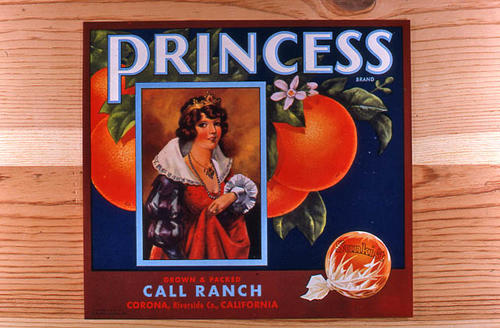 "This slide is of the ""Princess"" brand.  This Sunkist orange product was grown and packed by the Call Ranch - Corona, Riverside County, California. - SLIDE CONDITION:  Good."