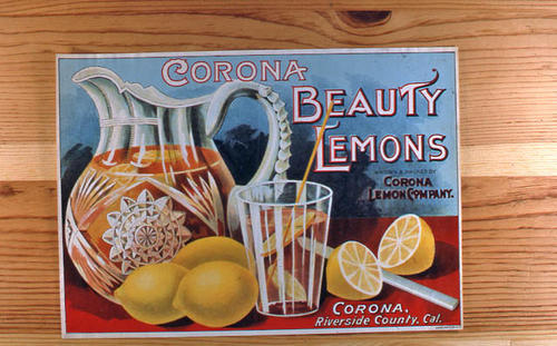 "This slide is of the ""Corona Beauty Lemons"" brand.  This product was grown and packed by the Corona Lemon Company - Corona, Riverside Co.,  California. - SLIDE CONDITION:  Good."