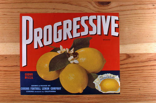 "This slide is of the ""Progressive"" brand.  This Sunkist product was grown and packed by the Corona Foothill Lemon Company - Corona, Riverside Co., California.  This label has no pie, but has three lemons in a cluster. - SLIDE CONDITION:  Good."