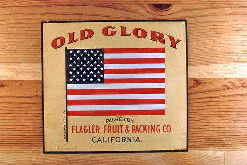 "This slide is of the ""Old Glory"" brand.  This product was packed by Flagler Fruit and Packing Co. - California. - SLIDE CONDITION:  Good."