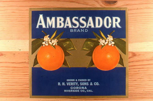 "This slide is of the ""Ambassador"" brand citrus label. Grown and Packed by R. H. Verity Sons and Co. - Corona - Riverside County, California. SLIDE CONDITION:  Good."