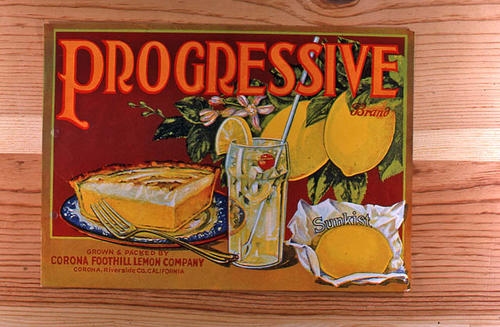 "This slide is of the ""Progressive"" brand.  This Sunkist product was grown and packed by the Corona Foothill Lemon Company - Corona, Riverside Co., California.  A slice of lemon pie is featured on the label. - SLIDE CONDITION:  Good."