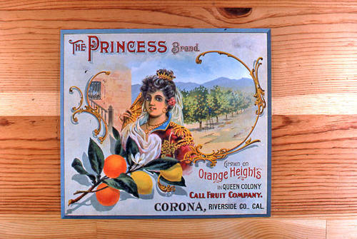 "This slide is of the ""The Princess"" brand citrus label.  This product is grown on Orange Heights in Queen Colony by the Call Fruit Company - Corona, Riverside County, California. - SLIDE CONDITION:  Good."