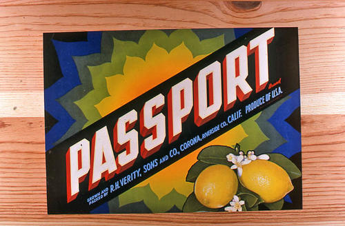 "This slide is of the ""Passport"" brand.  This lemon product was grown and packed by R. H. Verity, Sons and Co.  - Corona, Riverside Co., California.  - SLIDE CONDITION:  Good."