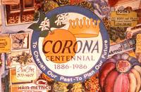 Montage - Corona Centennial 1886 to 1986 - Business logos in artwork.