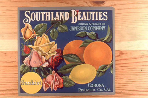 "This slide is of the ""Southland Beauties"" brand citrus label. Packed and grown by Jameson - Corona (Riverside County), California.  SLIDE CONDITION:  Good."