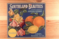 "Citrus label ""Southland Beauties"" brand - Blue Background.  Jameson - Sunkist..."