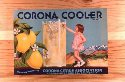 "This slide is of the ""Corona Cooler"" brand citrus label. Grown and Packed by the Corona Citrus Association - Corona (Riverside County), California.  SLIDE CONDITION:  Good."
