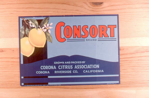 "This slide is of the ""Consort"" brand citrus label.  This product was grown and packed by the Corona Citrus Association - Corona, Riverside County, California.  - SLIDE CONDITION:  Good."
