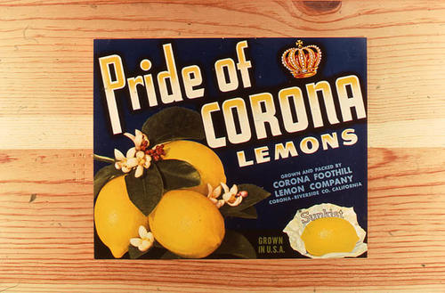 "This slide is of the ""Pride of Corona Lemons"" brand.  This product was grown and packed by the Corona Foothill Lemon Company - Corona, Riverside Co., California.  - SLIDE CONDITION:  Good."