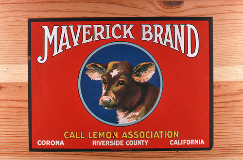 "This slide is of the ""Maverick"" brand.  This lemon product was from R. H. Verity, Sons and Co.  The words Call Lemon Association also appear on the label. - Corona, Riverside County, California. - SLIDE CONDITION:  Good."