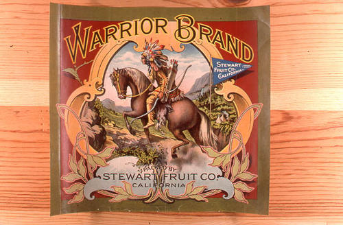 "This slide is of the ""Warrior"" brand citrus label. Packed by Steward Fruit Co. - California.  SLIDE CONDITION:  Good."
