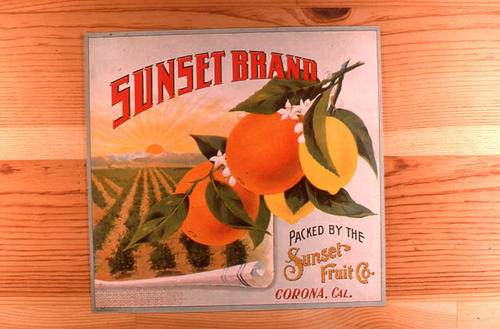 "This slide is of the ""Sunset"" brand citrus label.  This product is from the Sunset Fruit Co.  - Corona, California.  - SLIDE CONDITION:  Good."