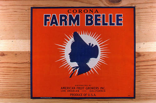 "This slide is of the ""Corona Farm Belle"" brand.  This product was distributed by American Fruit Growers, Inc. - Los Angeles, California.  - SLIDE CONDITION:  Good."
