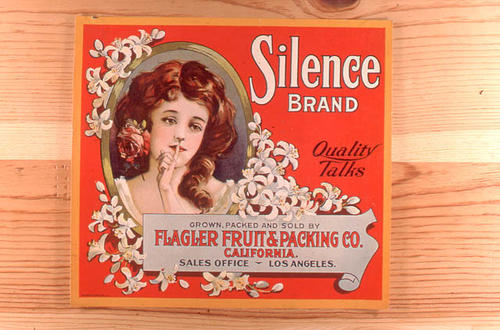 "This slide is of the ""Silence"" brand citrus label. Grown, Packed and Sold by Flagler Fruit and Packing Co. Sales office located in Los Angeles, California.  SLIDE CONDITION:  Good."
