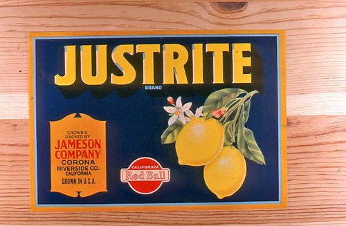 "This slide is of the ""Justrite"" brand.  This product is grown and packed by Jameson Company and depicts a lemon on the label - Corona, Riverside Co., California. This slide has the Red Ball logo in the lower left hand corner. - SLIDE CONDITION:  Good."
