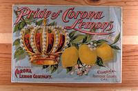 """Citrus label """"Pride of Corona Lemons"""" brand - Corona Lemon Company - Corona"""