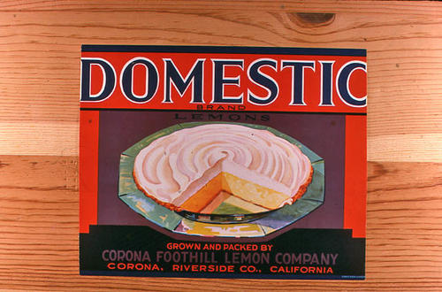 "This slide is of the ""Domestic"" brand.  This product was grown and packed by Corona Foothill Lemon Company. - Corona, Riverside Co., California.  - SLIDE CONDITION:  Good."