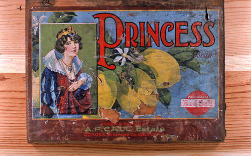 "This slide is of the ""Princess"" brand.  This lemon product was grown and packed by the A. F. Call Estate and had the California Red Ball logo. - Corona, Riverside Co., California.  - SLIDE CONDITION:  Good."