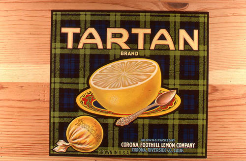 "This slide is of the ""Tartan"" brand citrus label. Grown, Packed by the Corona Foothill Lemon Company - Corona, Riverside County, California.   SLIDE CONDITION:  Good."