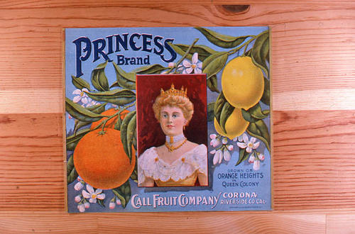 "This slide is of the ""Princess"" brand.  This product was grown on Orange Heights in Queen Colony by the Call Fruit Company - Corona, Riverside Co.,  California. - SLIDE CONDITION:  Good."
