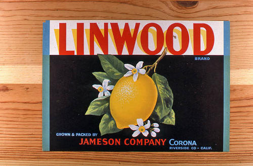 "This slide is of the ""Linwood"" brand.  This lemon product was grown and packed by Jameson Company - Corona, Riverside County, California. - SLIDE CONDITION:  Good."