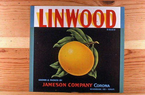 "This slide is of the ""Linwood"" brand.  This orange product was grown and packed by Jameson Company - Corona, Riverside County, California. - SLIDE CONDITION:  Good."