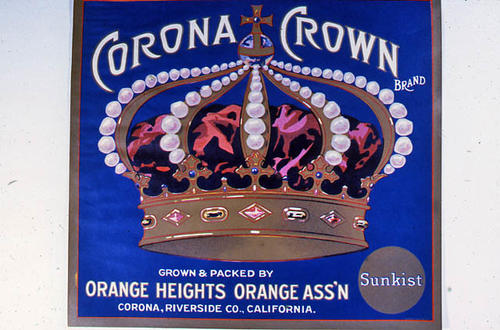 "This slide is of the ""Corona Crown"" brand.  This Sunkist product was grown and packed by the Orange Heights Orange Association. - Corona, Riverside County, California. - SLIDE CONDITION:  Good."