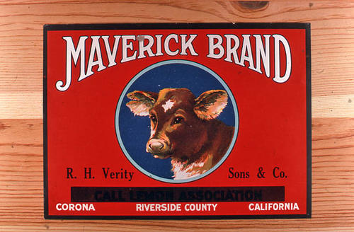 "This slide is a photograph of the ""Maverick"" brand.  This citrus product was from R. H. Verity, Sons and Co.  - Corona, Riverside County, California. The words Call Lemon Association has been blanked out with a black bar.  ART-141 shows the label with the words left on the label. - SLIDE CONDITION:  Good."