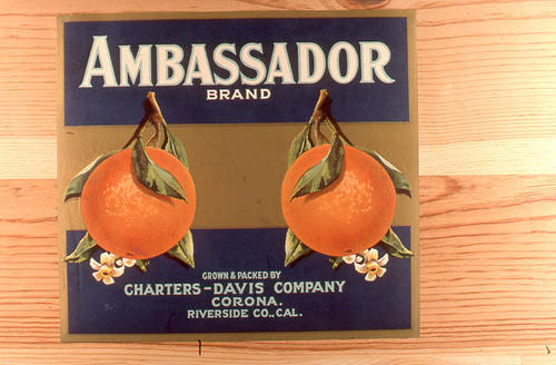 "This slide is of the ""Ambassador"" brand citrus label. Grown and Packed by the Charters-Davis Company - Corona - Riverside County, California. SLIDE CONDITION:  Good."