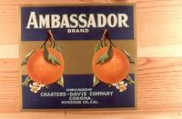 "Citrus label ""Ambassador"" brand.  Charters-Davis - Corona, California"