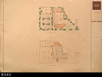 1991 - Architectural Rendering - Site Plan and Lower Floor Plan - Corona Public...