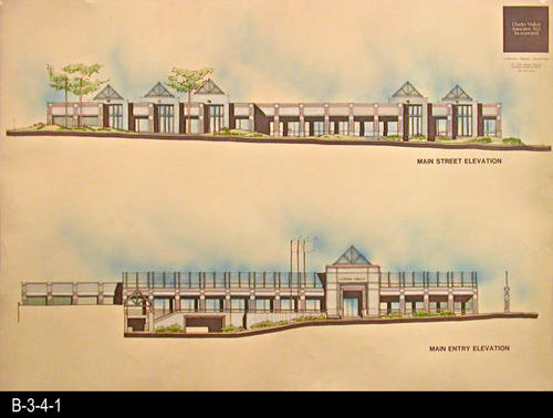 "This document is an architectural rendering of the Main Street Elevation and the Main Entry Elevation for the current library facility that opened in June 1993.   MEASUREMENTS:  30"" X 42"" - CONDITION:  Very Good - COPIES:  1."