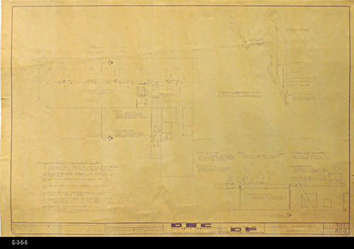 "This blueprint is the Plumbing and Refrigeration Plan for the market. MEASUREMENTS:  24"" X 36"" - CONDITION:  The blueprint lines and text are somewhat faint. - COPIES: 2 - COPY 1: This is the original plan, 301, and has source No. E-3-5-4.  COPY 2: Plan 301D has ITEMS 6 and 7 added to the original 5 items of the EQUIPMENT SCHEDULE, and a  NOTE to the drawing in Section A in the lower, right hand corner."