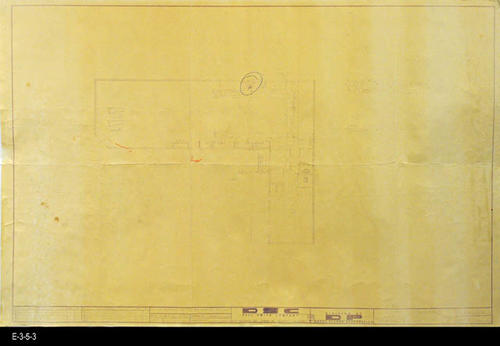 "This blueprint is the Plumbing and Regrigeration Plan for the market. MEASUREMENTS:  24"" X 36"" - CONDITION:  The blueprint lines and text are somewhat faint. - COPIES:  1"