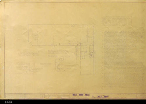 "This blueprint is one of three similar Electrical Blueprints for the Joe Bridges Market.  One plan (Source: E-3-5-7) has a hand drawn, blue ink modification and the second plan (Source: E-3-5-8) has a notation in red pencil. The August 1963 Revised Plan has Sections A and B added to the map.  These additions are for the compressor room. MEASUREMENTS:  24"" X 36"" - CONDITION:  Source E-3-5-6 is the most readable, though the written Electrical Requirements are faint.  On the other two copies of the blueprint the Electrical Requirements are present, but too faint to read."
