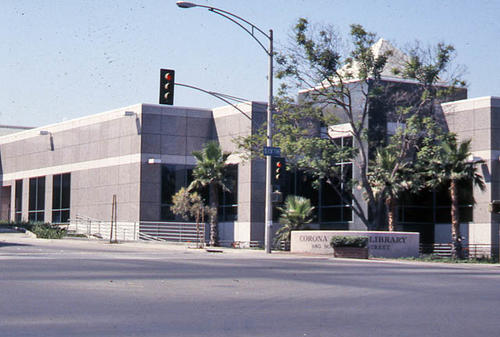 This slide is of the Corona Public Library that began operation 6/21/1993. - SLIDE CONDITION:  Good