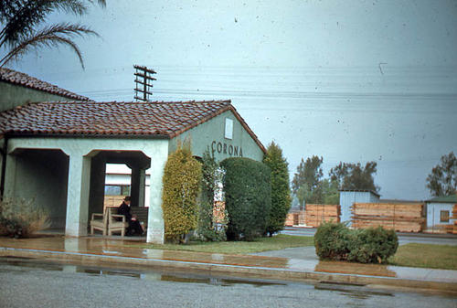 This slide is of the Corona Train Depot taken on a rainy day. - SLIDE CONDITION:  Good