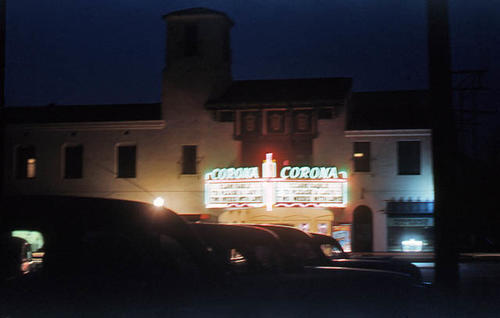 This slide is of the Corona Theater taken at night in August 1952.  SLIDE CONDITION:  Good