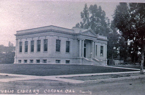 This slide is a photograph of the Carnegie Library located in Corona.  This library was in operation from 7/02/1906 - 7/03/1971. - SLIDE CONDITION:  Good