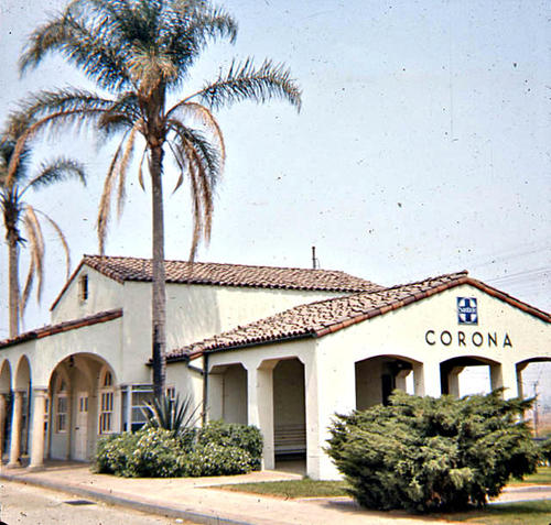 This slide is of the Corona Train Depot. - SLIDE CONDITION:  Good