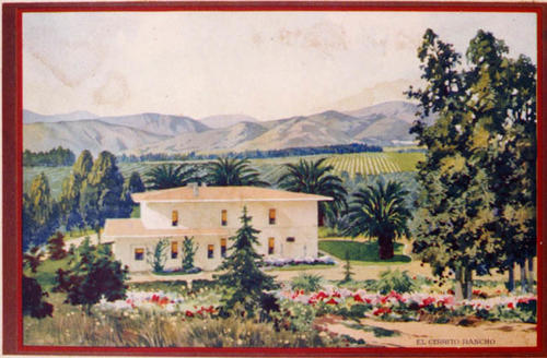 El Cerrito Ranch packing box label prior to 1930. Shows house, groves, and foothills.