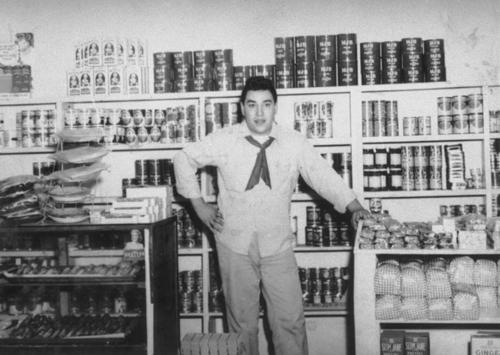 Leon A. Ortiz in the Leon C. Ortiz and Sons Tortilla store, located on North Main St. between 2nd and 3rd Streets.