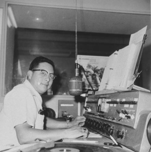Reynaldo Aparicio working as a disc jockey in 1960.